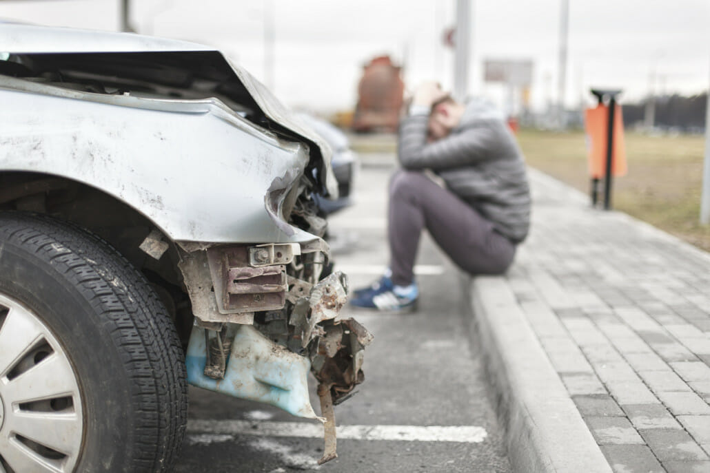 broken car after the accident in foreground | Accident ...